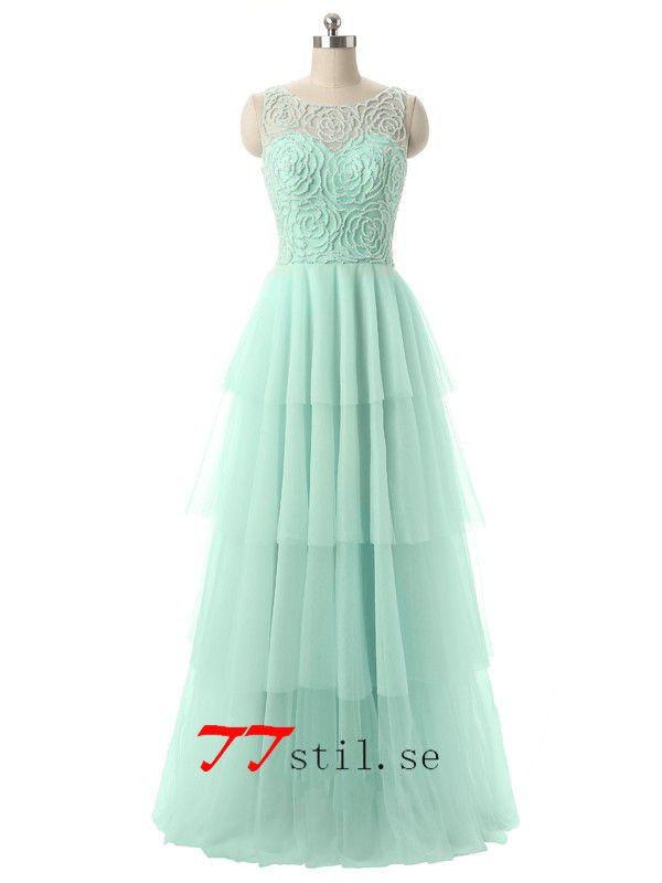 Tulle blotta halsen beading lång kväll klänningar balklänning med layered kjol