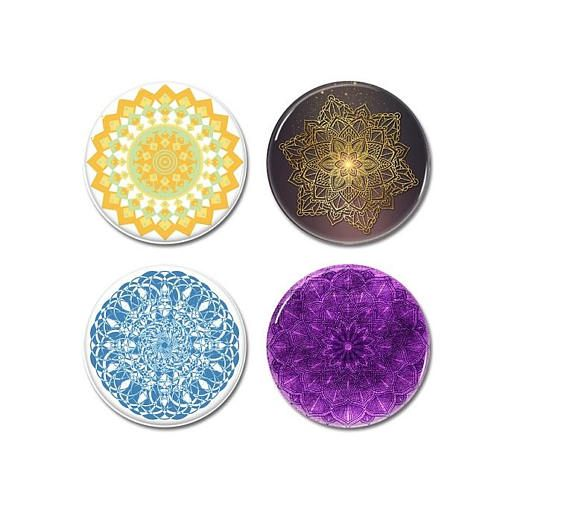 Mandala Pattern buttons set of 4!   #buttons #badges #pins #meditation #mandala #pattern