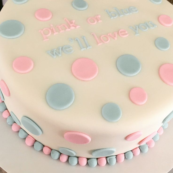 Gender reveal cake pink or blue we'll love you!