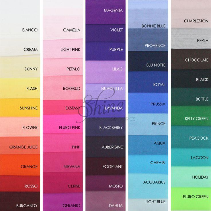 Chiffon Colour Chart | Shine Trimmings & Fabrics | Shop Chiffon www.shinetrimmingsfabrics.com.au