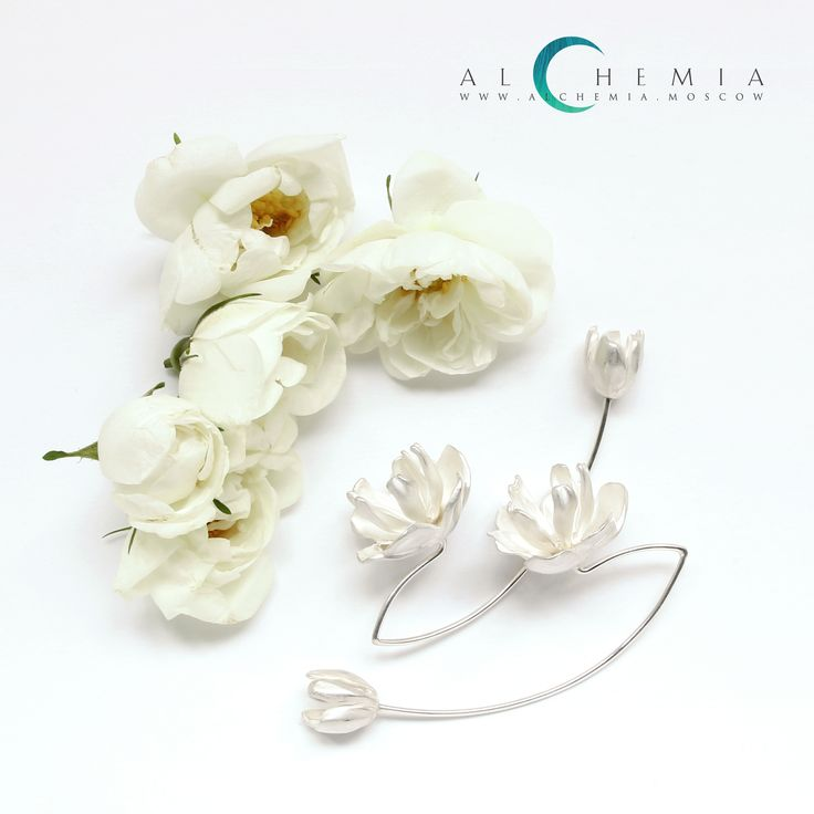 The Peony earrings. Silver. Handmade by Alchemia Jewellery.