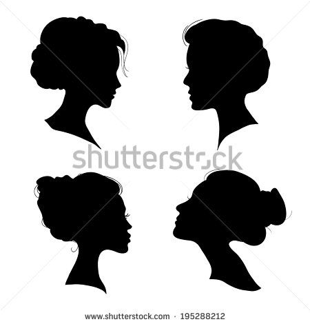 Victorian Silhouette Woman Head Portrait of beautiful girl