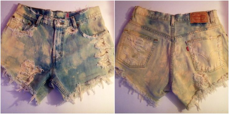 Unique Distressed High-Waisted Denim Shorts, Customized by Damsel in Distress. Tan Wash, Distressed  Size: 10/12, Waist 30, Hip 39