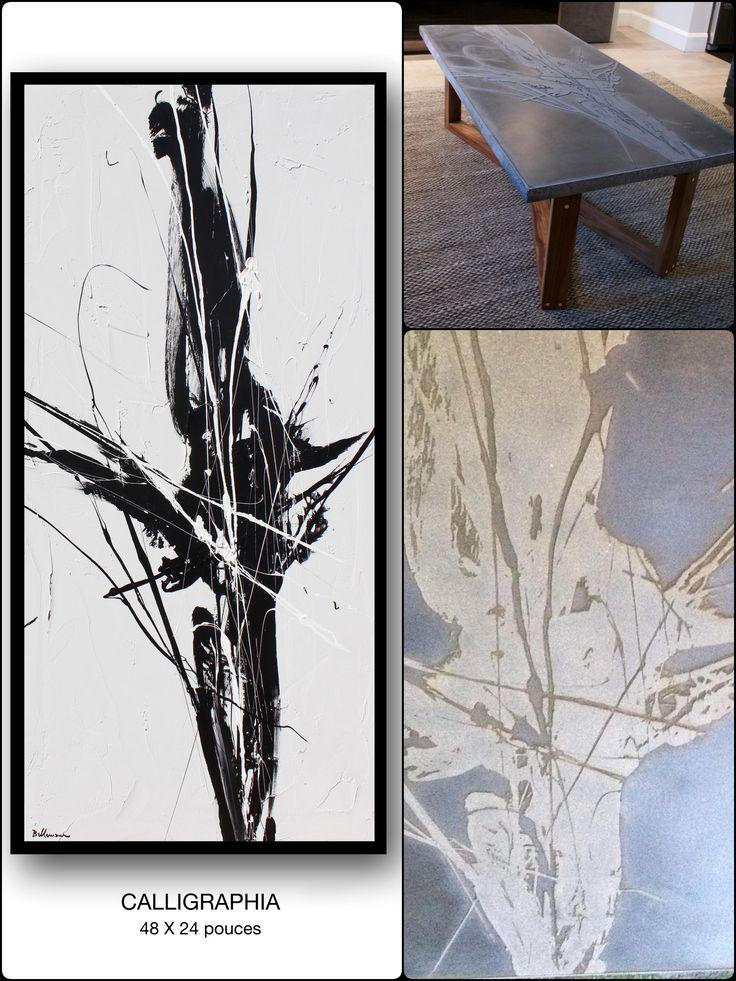 Table basse en béton en collaboration avec le peintre Pierre Bellemare. #tablebasse #concrete #maisondecoration #kindofbetoin