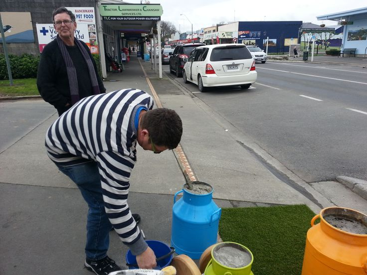 "BNZ Carterton Place Making ""Pod"" milk churns."