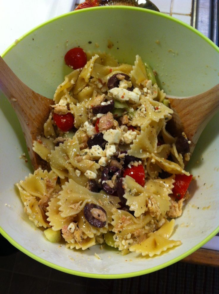 Sunday Pasta Salad: Bowtie pasta, albacore tuna, black olives, grape ...