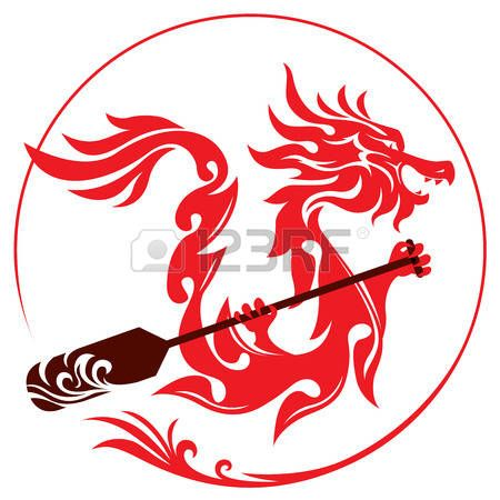 dragon boat: Dragon rowing the paddle graphic design Illustration