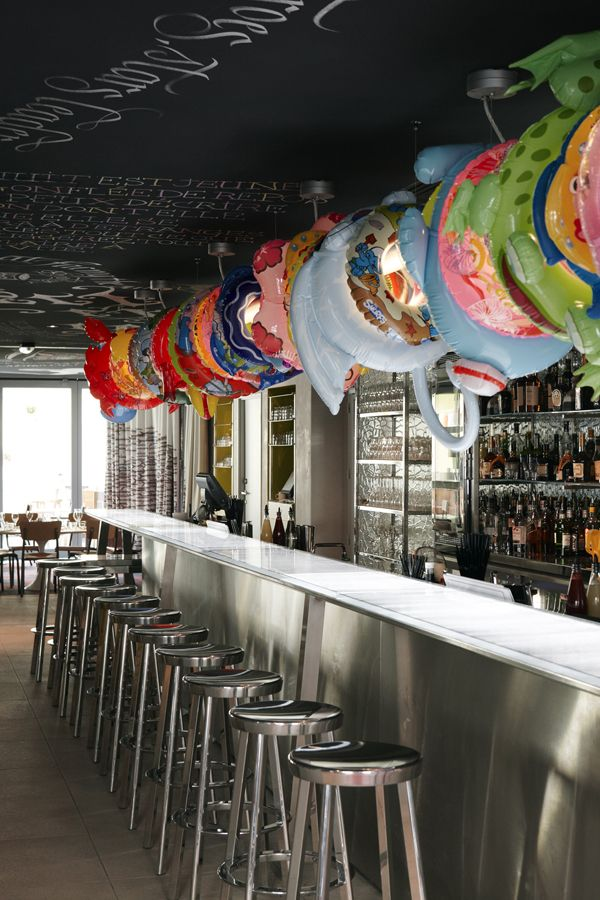 Chalk board ceiling with water floaties: Funny Design, Marseilles, Philippe Starck, Interiors Design, Beaches Bar, Bar Lights, Shelters Marseil, Mama Shelters, Philippestarck