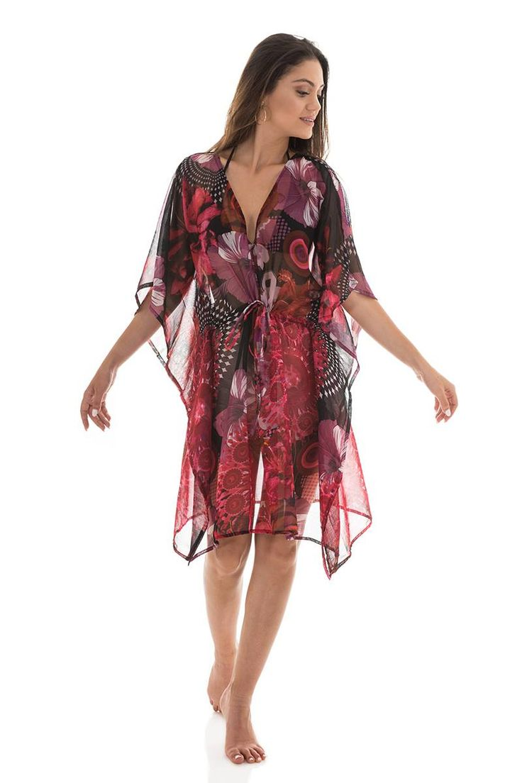Floral kaftan with adjustable waist cord. Short sleeves and frilled sides. 100% Polyester.   https://www.modaboom.com/kaftani-floral.html