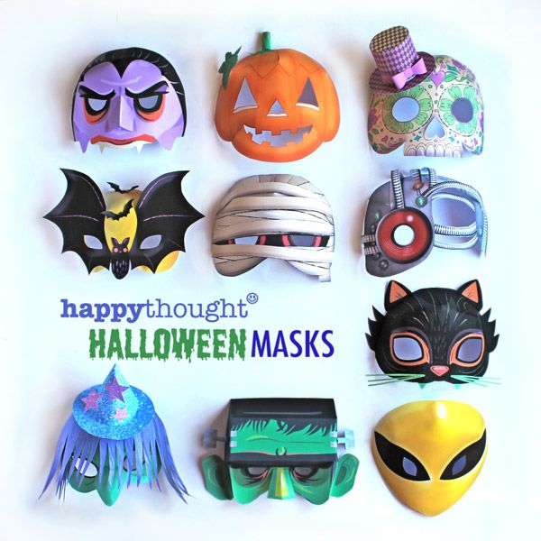 Printable Halloween mask templates: Alien, Frankenstein, Cat, Witch, Mummy, Calavera, Pumpkin, Cyborg, Bat and Vampire.