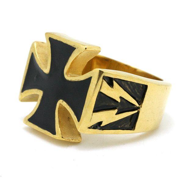 Удивительные черный крест иисуса кольцо молний нержавеющей стали 316L Высокое качество золотой крест прохладный популярный кольцо