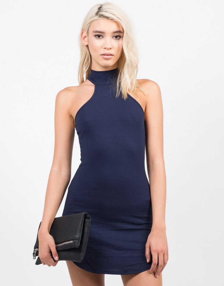 High Neck Mini Party Dress - Blue Dress - Party Dress – Dresses – 2020AVE