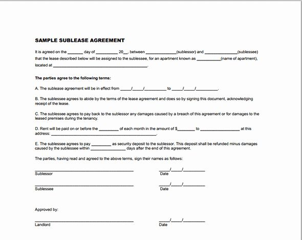 Sublease Agreement Template Word Awesome Printable Sample Sublease Agreement Template Form Real Estate Forms Template Printable Being A Landlord