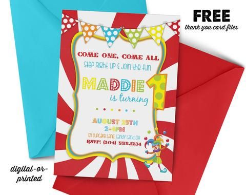 Carnival Birthday Invitation, first birthday party invitation, Carnival birthday, party invitation printable