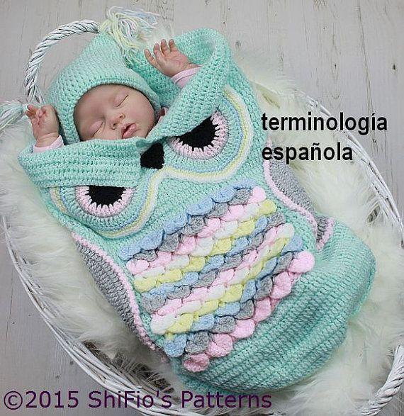 Patrón ganchillo para capullo búho & sombrero del bebé por ShiFio