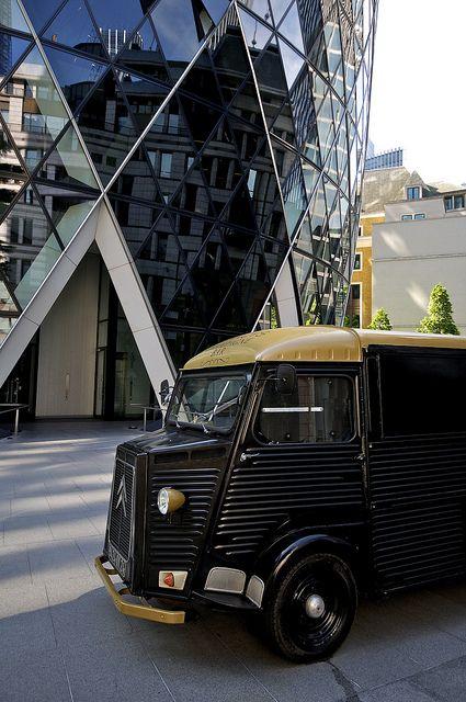Classic Citroen HY Van sitting outside The Gherkin - London