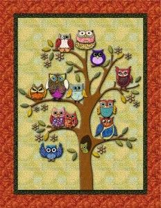 idea for Family tree quilt, use owls for each member of family!