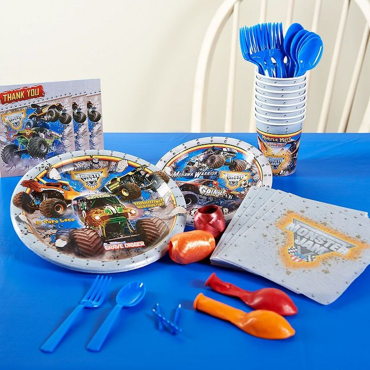 Monster Jam Party Supplies for 16, Multicolor