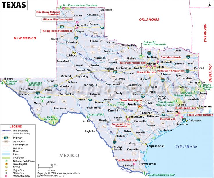 Texas (TX) Map