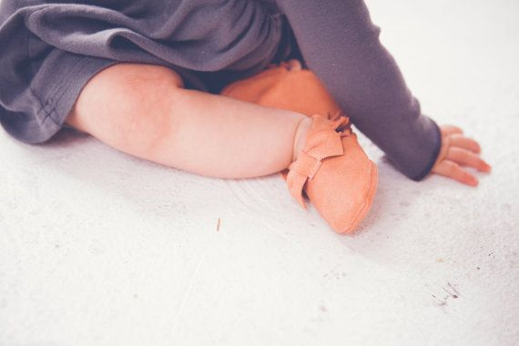 Unique Baby Moccs Peach Suede Leather Moccasins by Knottytots