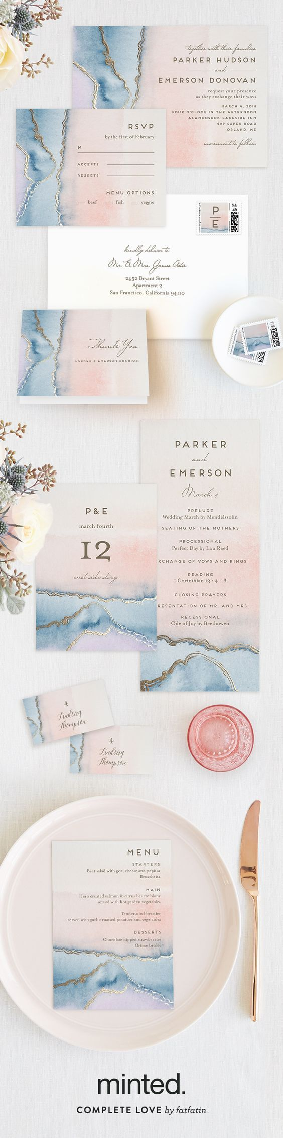 How stunning is the Minted 2016 Foil-Pressed Wedding Collection? Shop unique designs for your wedding invitations in unique styles from our community of artists. Simple Agate, geode crystal inspired wedding invitation, by Minted artist Petra Kern.