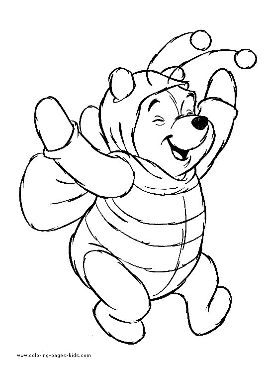 winnie the pooh is wearing a very cute halloween bee costume halloween coloring pages for kids