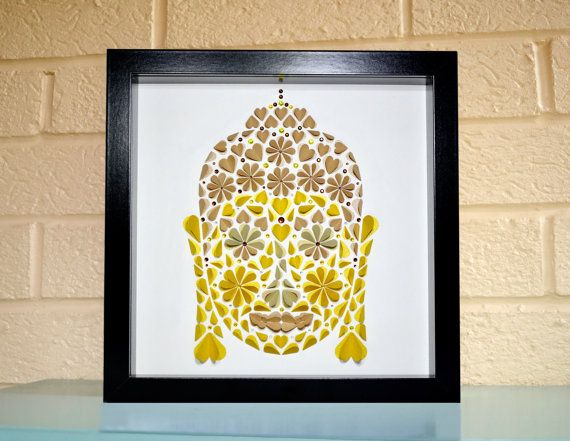 Framed Buddha art handmade from paper by LoveArtsbyMichelle