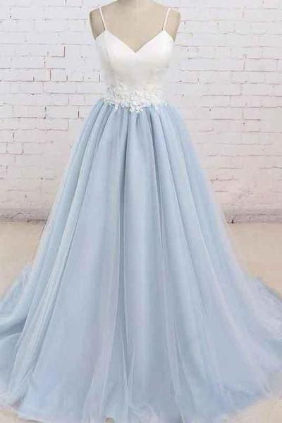 c881629f09e A Line Light Blue Spaghetti Straps Prom Dresses Sweetheart Long Evening  Dresses  promdresseslightblue  eveningdress