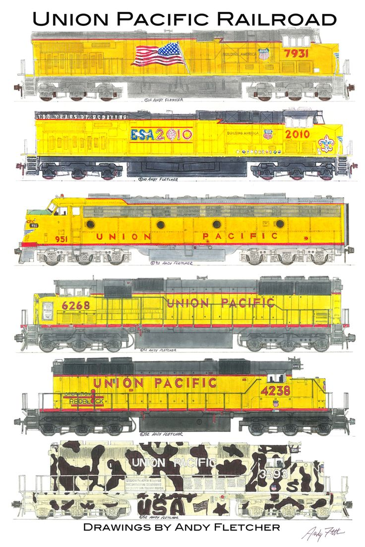 6 hand draw Union Pacific locomotive drawings by Andy Fletcher