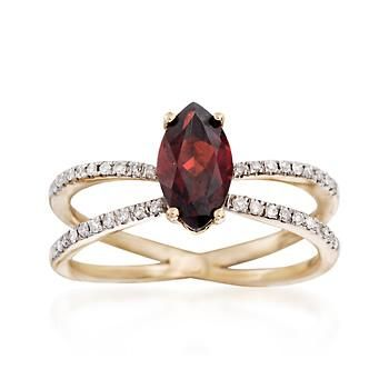 The rich burgundy of a 1.40 carat marquise garnet contrasts with .17 ct. t.w. diamonds on this 14kt yellow gold crisscross ring. Diamond and garnet ring. Free shipping & easy 30-day returns. Fabulous jewelry. Great prices. Since 1952.