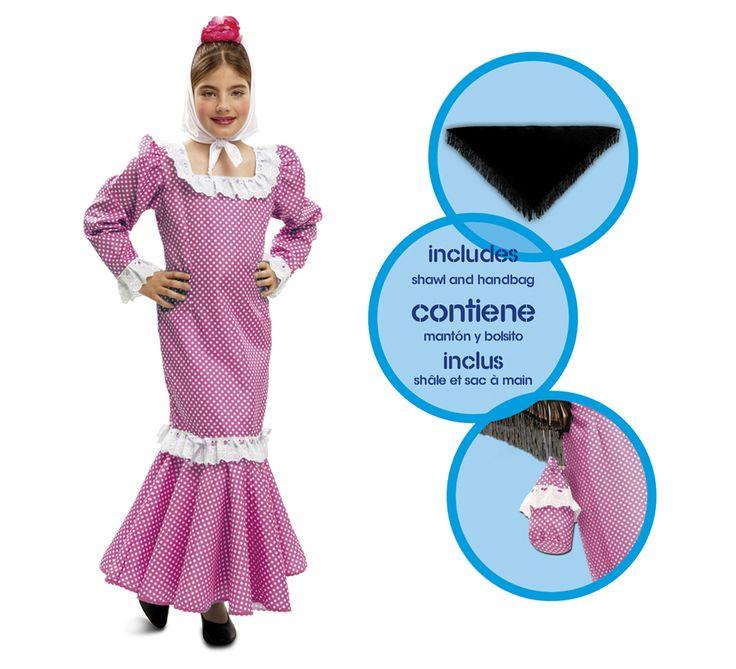 Disfraz #chulapa o #madrileña Rosa para niñas. #SanIsidro #Madrid #FeriadeSanIsidro #Disfraz