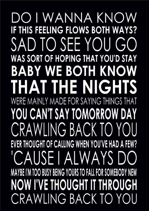 Do I Wanna Know - Arctic Monkeys Lyrics Word Wall Art Typography Poster Print