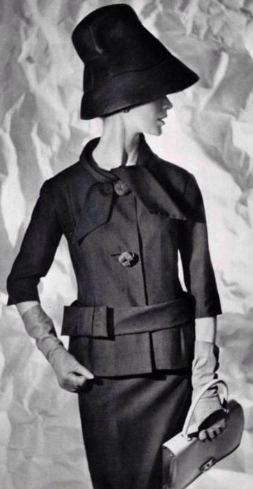 Suit and hat, Pierre Cardin, bag by Hermes1960