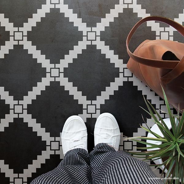Black And White Tile Floors Tiled Floor Stencils Large Modern Tile Stencils For Painting Royal Des Stenciled Floor Tile Stencil Stencil Painting On Walls
