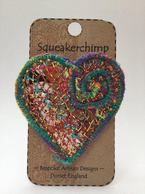 Unique Fabric Art Heart Brooch Pin Gold Green Red Metallic