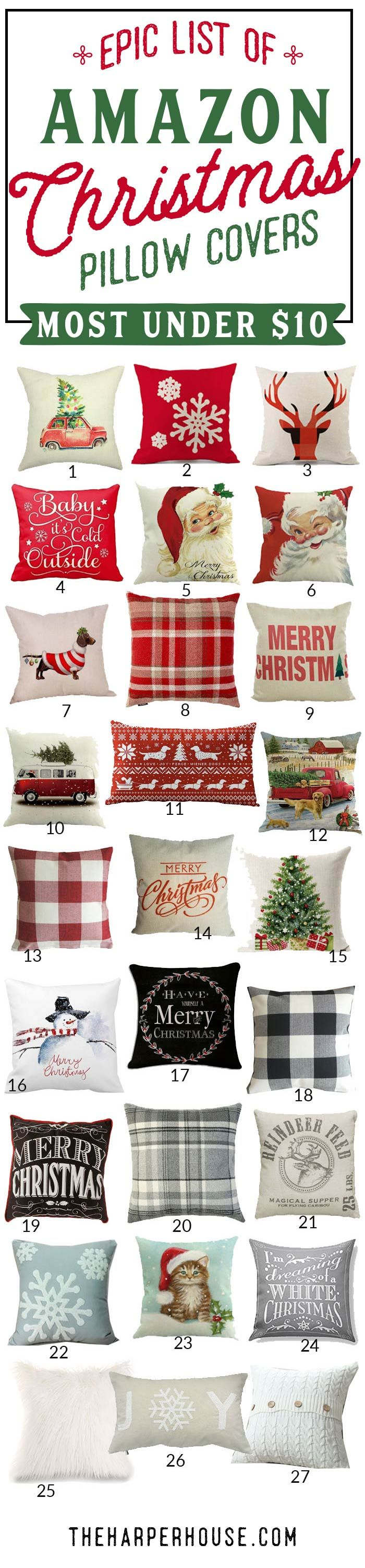 cheap Christmas pillows| farmhouse Christmas decor| cute Christmas pillows| red holiday pillows| neutral holiday decor