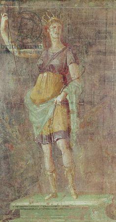Statue of Diana, from Pompeii, c.50-59 (fresco). Roman, (1st century AD) / Museo Archeologico Nazionale, Naples, Italy