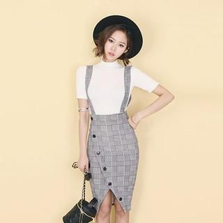 Buy 'DABAGIRL – Houndstooth Buttoned Suspender Skirt' with Free International Shipping at YesStyle.com.