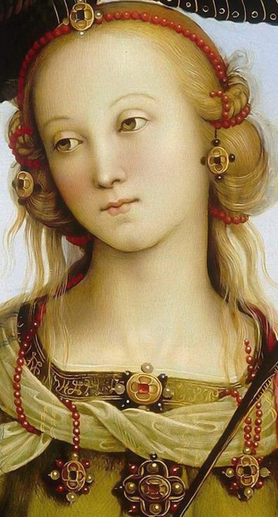 Attributed to Perugino -- Virgin and Child accompanied by two angels, Saint Rose and Saint Catherine of Alexandria: