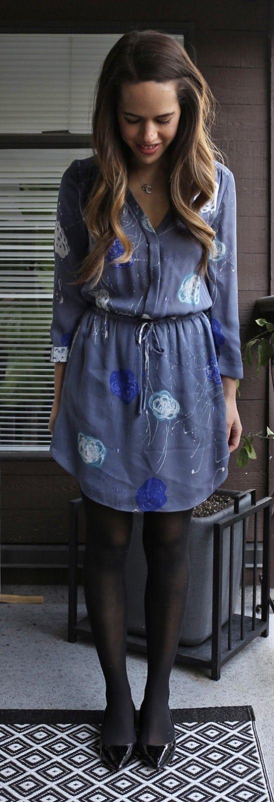 Jules in Flats - Babaton silk dress, Aldo Deloris block heel patent pumps