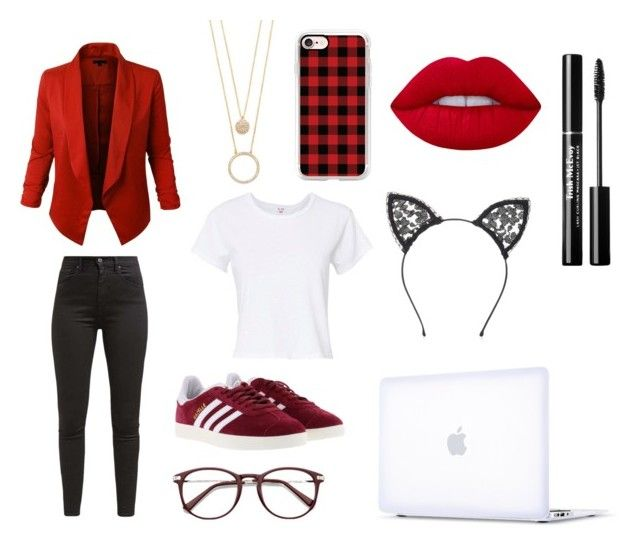"""""""Red"""" by grekke on Polyvore featuring RE/DONE, Levi's, adidas, Kate Spade, Casetify, Lime Crime, Incase and Fleur du Mal"""