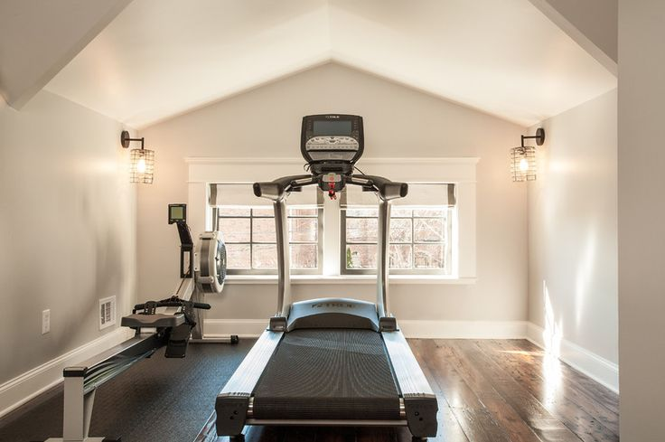 Spare bedroom or attic space turned gym:  craftsman home gym by Renewal Design-Build