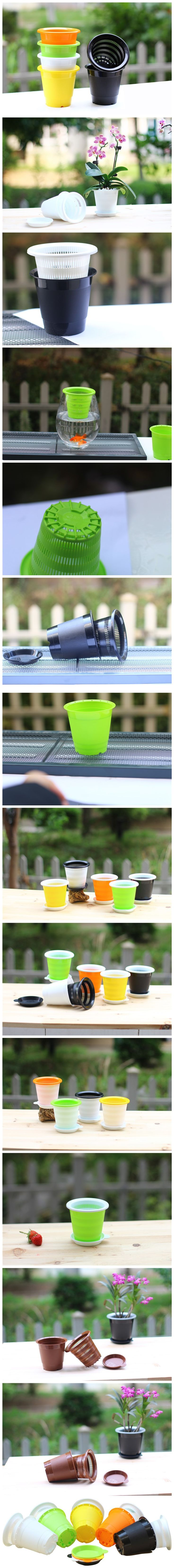 2pcs 7 Inch Pot 1pc 6 Inch Pot Meshpot Clear Plastic Orchid Pots