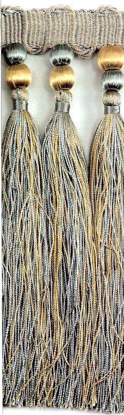 """9"""" Tassel Fringe - Blue / Gold 