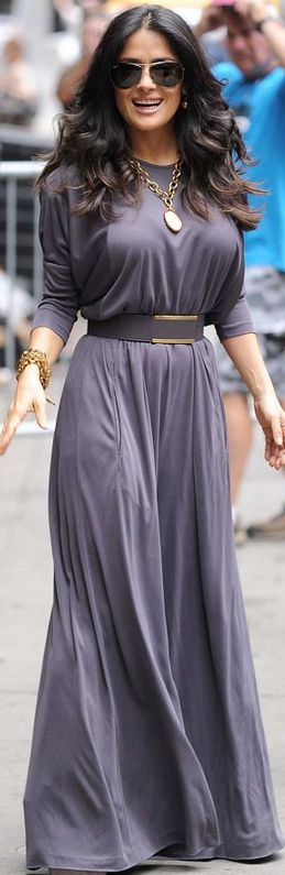 Who made  Salma Hayek's purple jumpsuit, gold jewelry, nude pumps and belt that she wore in New York on July 11, 2013?