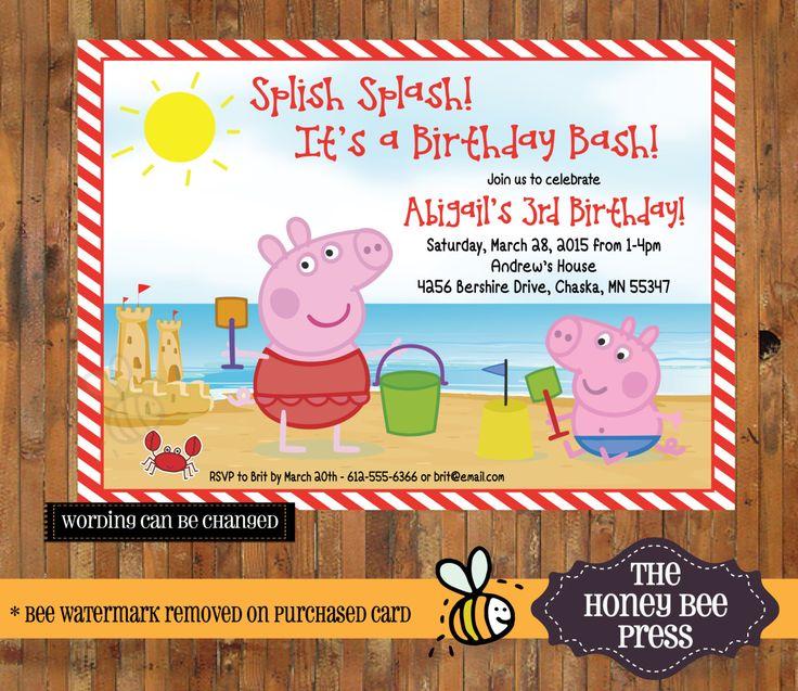 Peppa Pig Birthday invitation - Peppa Pig Pool Party - Splish Spalsh Peppa Pig Beach Invitation - Peppa Pig Pirate Invitation  - Item 0227 by TheHoneyBeePress on Etsy https://www.etsy.com/listing/221845773/peppa-pig-birthday-invitation-peppa-pig