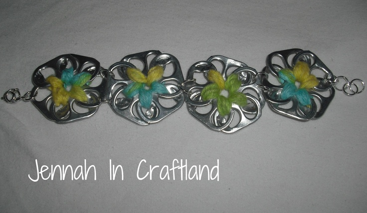 AWESOME Recycled Pop Can Tab Flower Braclet by JennahInCraftland, $16.53