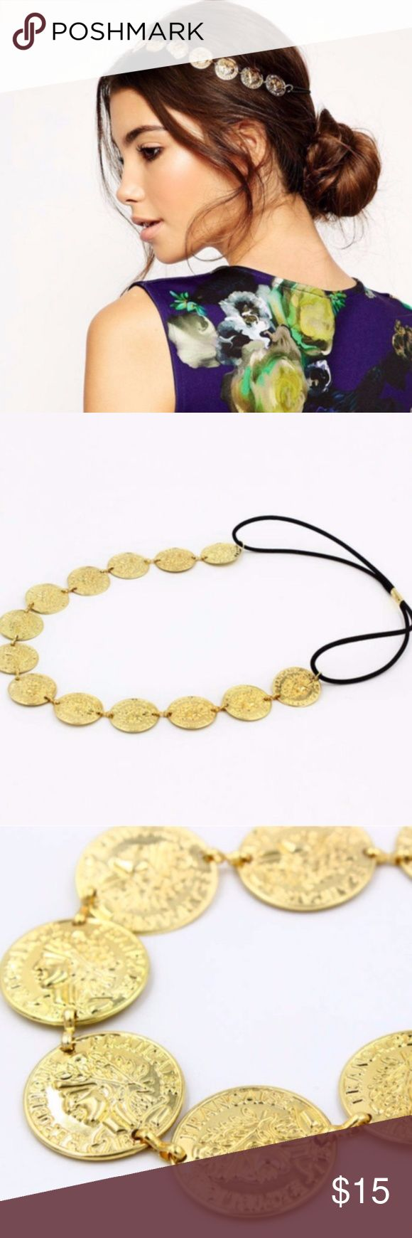 Gold Coin Black Elastic Headband Brand New Without Tags Alloy and Black Elastic Made in China Without stretching, gold coins and black elastic are ~20.5 Accessories Hair Accessories