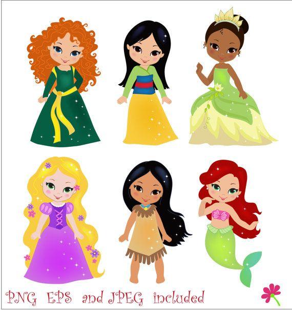 Princess 03 Digital Clipart /  Princess Clip Art / Fairytale Princess Digital Clipart For Personal and Commercial Use / INSTANT DOWNLOAD on Etsy, $5.00