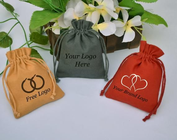 100 Free Custom Logo Printed Favor Bag Jewelry Packaging Pouch Personlized Gift bag 4x4 Inch